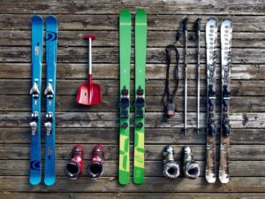 Skiing equipment on wood