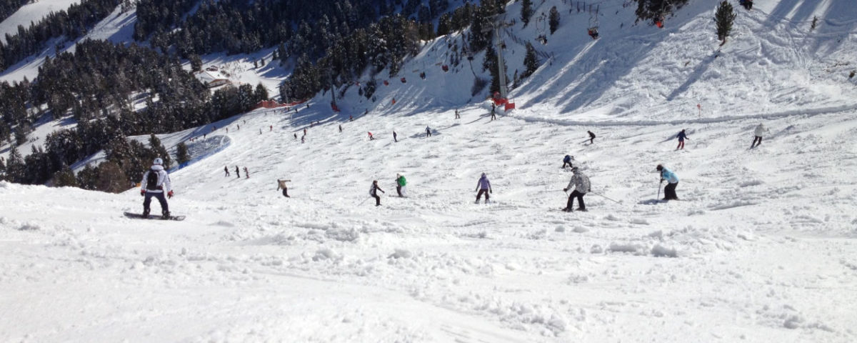Skiing in Madonna di Campiglio is truly amazing - skiers at descent